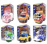 EASTVAPS Robocar Poli 6pcs Véhicule Transformable Figurine Jouet et Cadeau pour Enfants