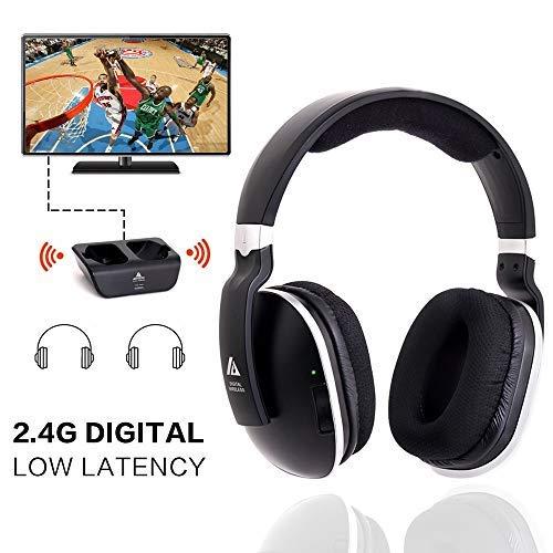 Universal TV Wireless Headset Stereo Over-Ear-Kopfhörer mit 2,4 GHz RF Transmitter, Ladestation, Later Low Lautstärkeregler, 100 m Reichweite und 20 Stunden Sound für TV Gaming PC Mobile