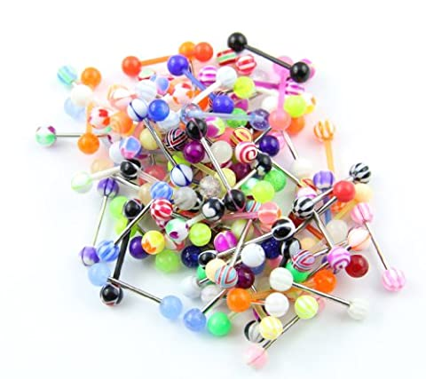 316L Surgical Steel 14 Guage Lot 95 Assorted Different Tongue Bars Rings Barbell Stud Wholesale Body Jewelry Piercing