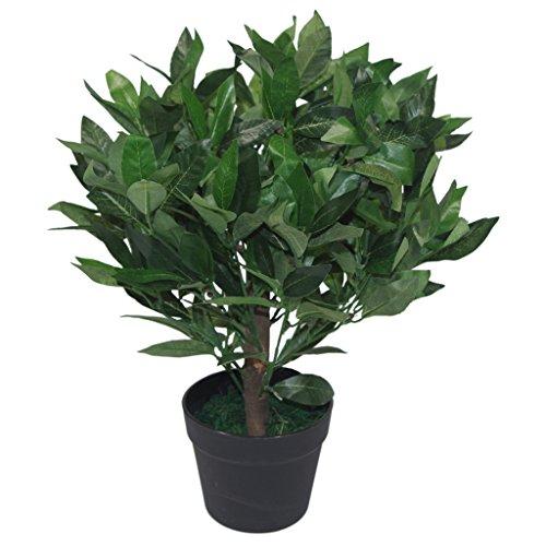 Leaf Arbusto Artificial de 50 cm con diseño de Hojas enanas y laureles, Color Verde