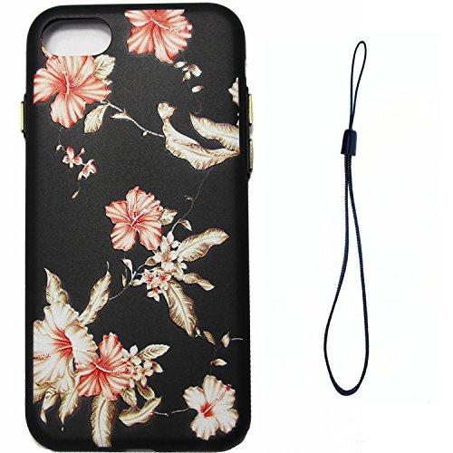 Linvei Hülle für Apple iPhone 7(4.7 Zoll) -Blumen muster Design/ TPU Silikon Backcover Case Handy Schutzhülle -Rote Blumen Design Gold blatt Rot Blumen Design