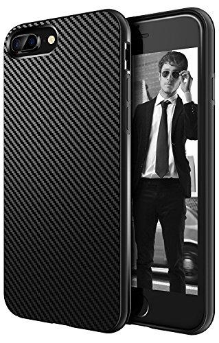 AVANA Schutzhülle Kompatibel mit iPhone 8 Plus, iPhone 7 Plus Hülle Flexibles Case Schwarz Bumper Schutz Handyhülle Silikon TPU Schale Kratzfest Kohlefaser Cover Carbon Optik