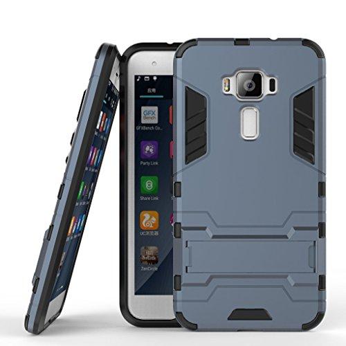 Handyhülle für Asus Zenfone 3 ZE520KL Hülle Schale Tasche, Ougger Extreme Schutz [Kickstand] Leicht Armor Schutz SchutzHülle Hart PC + Soft TPU Gummi 2in1 Rear für ZE520KL Schwarz