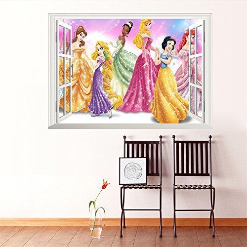 ufengke décor Wunderschöne Disney-Prinzessinnen-Wandtattoos mit Blick-aus-dem-Fenster-Design, entfernbare Wandaufkleber für das Schlaf- oder Wohnzimmer (Mädchen Für Disney Wandsticker)