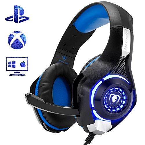 Beexcellent Gaming Headset für PS4 Xbox One PC Mac Controller Gaming Kopfhörer mit kristallklarem Stereo Bass Surround Sound, LED-Licht & Rauschunterdrückung Mikrofon (Erneuert)