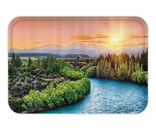 RAINNY Doormat Lake House Decor Collection Sunset Over The Bend of The River Clutha with Southern AlpPeakon The Horizon Image Polyester Fabric Bathroom Set with HookPeach Green 23.6 W X 15.7 W Inches