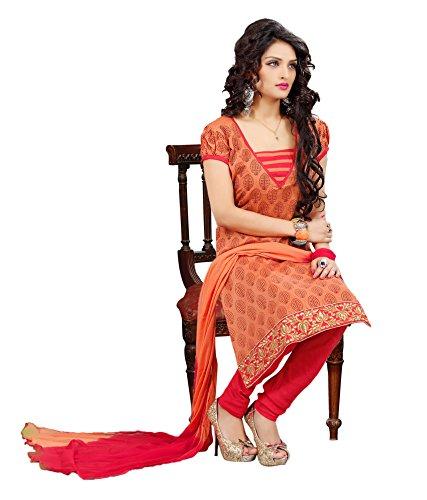 Applecreation Orange Chanderi Print Salwar Kameez