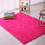 Bibabo25 - Tappeto a pelo lungo in tessuto felpato, antiscivolo, ideale per ilsoggiorno, morbido tappeto da collocare sul pavimento davanti alla porta, Poliestere, Rose Red, 60cm by 160cm