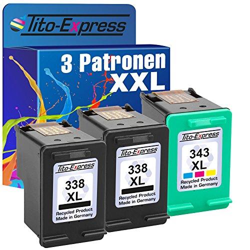 PlatinumSerie Set 3x Druckerpatrone für HP 338XL & HP 343XL Photosmart C3180 2710 2710XI 7800 7850...
