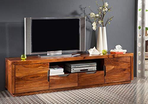 MASSIVMOEBEL24.DE Sheesham Massivmöbel lackiert TV-Board Palisander Holz massiv Massivholz walnuss Duke #123