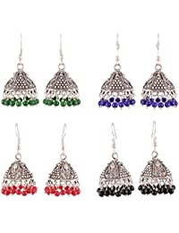 Sinjara Fashion Jewellery Combo Oxidized Silver Plated Jhumki Earrings For Women And Girls (97e)