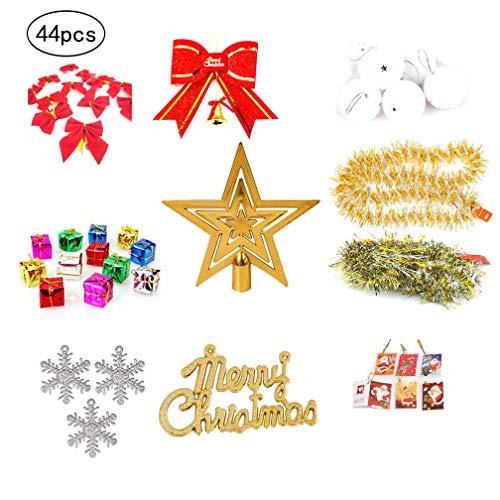Wenosda 44pcs Weihnachtsschmuck Set Weihnachtsbaum Dekorationen hängen Ball Verschiedene Kugeln Dekor mit String einschließlich Top Star/Frohe Weihnachten Brief/Bowknot / Card/Wolle ()