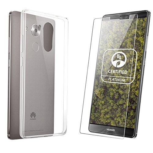 Custodia Huawei Mate 8 + Pellicola Huawei Mate 8, Danibos 1 x Copertina TPU Silicone Trasparente e 1 x Vetro Temperato Protezione Di Schermo Per Huawei Mate 8 (Huawei Mate 8)