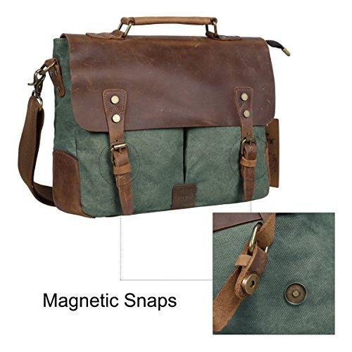 S-ZONE Moda Tela Genuine Leather Trim Viaggi computer portatile della cartella Messenger Bag Verde