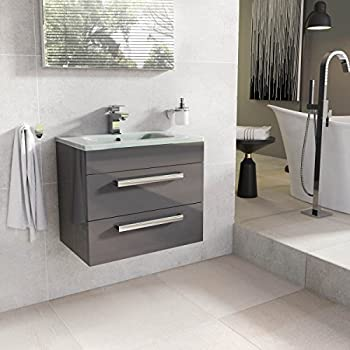 Newton Wall Mounted Bathroom Vanity Unit Anthracite Grey White Glass Basin 600mm