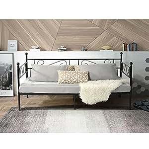 aingoo einzelbett schlafsofa mit lattenrost g stebett metallbett tagesbett. Black Bedroom Furniture Sets. Home Design Ideas