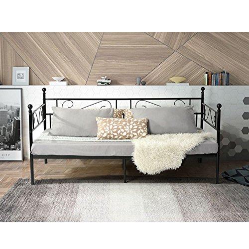 Aingoo letto singolo divano letto 90 x 200 cm in legno metallico frame letto (nero)