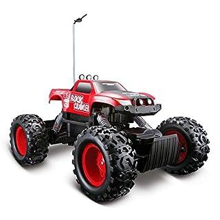 Maisto Tech R/C Rock Crawler: Ferngesteuertes Auto in Monstertruck-Ausführung, mit Allradantrieb und Pistolengriff-Fernsteuerung, 32 cm, rot (581152)