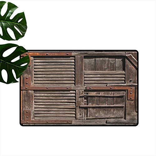 RenteriaDecor Teppich, rustikal, maschinenwaschbar, klein, spanischer Stil, dunkel gebeiztes Holz, Tür geheime Garten, mit Gitterfenster, Fußmatte für Kinderzimmer 20