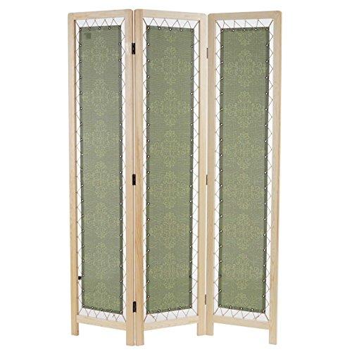Mendler Paravent Samsun, Raumteiler Trennwand Sichtschutz, Textil Ornamente, grün, Kiefernholz, 170x120cm
