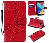 BoxTii® Galaxy A5 2016 Lederhülle, Kratzfeste Schutzhülle [mit Frei Panzerglas Displayschutzfolie] Karte Halter Hülle Etui für Samsung Galaxy A5 2016 (#6 Rot)