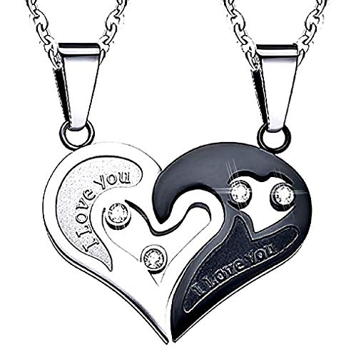Inception pro infinite collana doppio ciondolo cuore yin yang diviso a meta' con scritta i love you (ti amo) e nero con strass brillanti