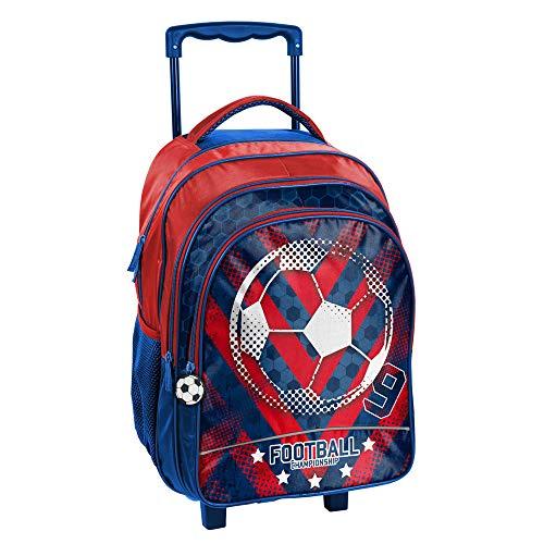 Kinder Trolley 48x32x18 cm - Motiv Fussball - BLAU/ROT
