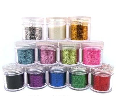 WAW0 12 x Fine Acrylic Glitter Powder for Nail Art Tips Design , Decoration Glitter Dust Powder