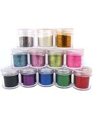 12 x Beaux acrylique de poudre de scintillement pour l'art d'ongle conception, décoration Glitter Powder Dust (10g Jar)