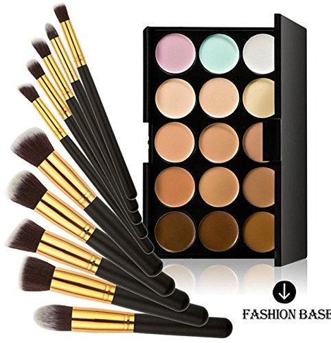 Fashion Base 15 Colors Contour Face Cream Makeup Concealer Palette With 10PCS Makeup Brushes Set Eyeshadow Brush (15 Color Concealer Palette& 10PCS Black and Gold Eyeshadow Brushes) by Fashion Base (TM)
