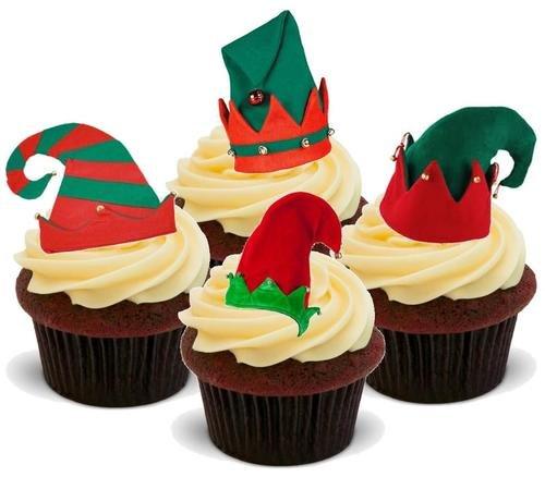 Weihnachtselfen Hüte mischen - 12 essbare hochwertige stehende Waffeln Kuchen Toppers, Christmas elves hats mix- Standups 12 Edible Standup Premium Wafer Cake Toppers