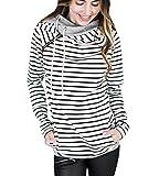 Search : ISSHE Women's Pullover Hoodies Sweatshirts For Women Womens Funnel Neck Hoodie Oversized Hooded High Neck Sweatshirt Female Jumpers Sweat Tops Jumper Long Sleeve Doublehood Striped Outwear Warm