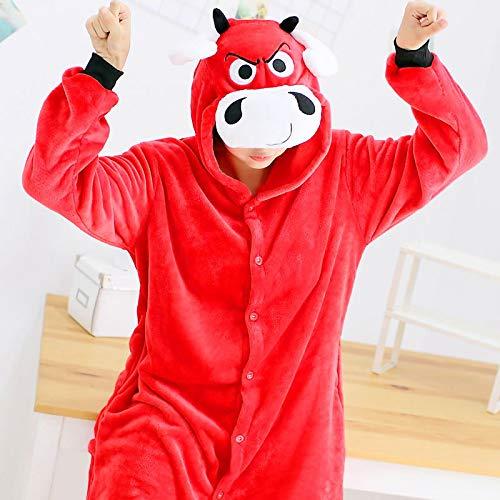 JYLW Damen Schlafanzug Frauen-Einhorn-Pyjamas Sets Erwachsene Super Soft Tier-Strampler Ganzes Einteiler Pyjamas Winter Sleepwear Homewear, Kuh, XS