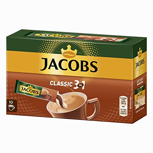 Jacobs 3in1 Caffè Solubile, Istantaneo, Accessori Bar, Set da 2, 10 Tazze