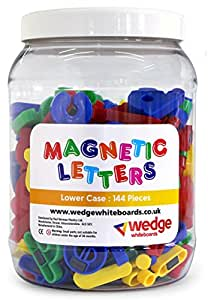 Wedge Whiteboards - Tub of 144 Magnetic Lower Case Letters, Spelling, Pre-school, Educational, Phonics, Teaching Aid