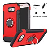 LFDZ Galaxy A5 2017 avec Anneau Kickstand Coque, [Téléphone Stand Titulaire/Support Bague] Coques Cover pour Samsung Galaxy A5 2017 Smartphone(Not fit Galaxy A5 2015 /A5 2016),Rouge