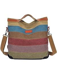 Hobos Shoulder Bags, Multi-Color Women's Striped Canvas Totes Hobos Handbag Shoulder Cross-body Bags