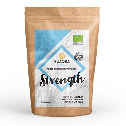 Huaora Strength – proteine di riso integrale, proteine di piselli e proteine di semi di zucca / proteine vegetali biologiche in polvere / senza glutine e adatto a vegani