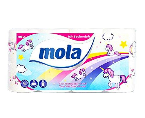 Mola Motiv 'Einhorn' Toilettenpapier 8er Pack mit Zauberduft von 3-lagig 150 Bl a Rolle Klopapier