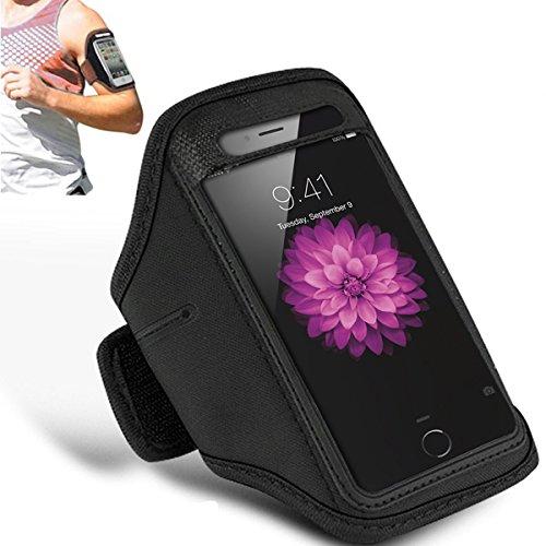 Apple iPhone 6S - Einstellbare Armband Gym Laufen Jogging Sports Fall-Abdeckung Holder + Putztuch ( Dark Purple ) Black