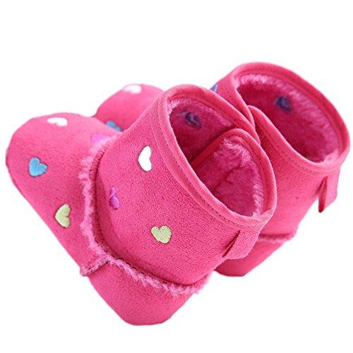 WAYLONGPLUS Baby-Mädchen weiche Sohle Schuhe Kleinkind Warme Stiefel Pink