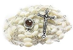 Idea Regalo - Rosario di perle croce con Maria medaglia e Santo suolo dalla Terra Santa
