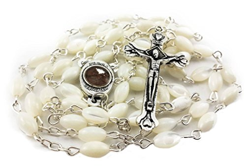 Mother of Pearl Catholic Rosary Jerusalem Holy Soil Medal & Cross From Holy Land