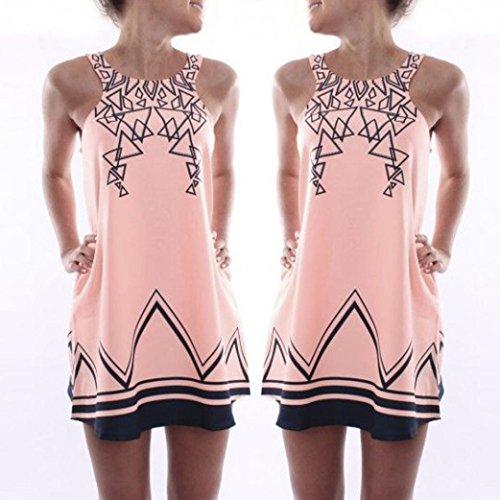 robe femme, Transer ® Vêtements femme robe de plage imprimée robe sans manches soirée Party Mini robe Rose