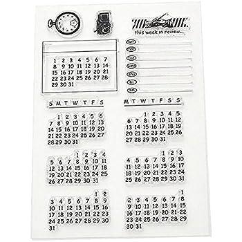 ?Calendrier semaine mois transparente sceau cachet fiche bricolage joint tampon artisanat Scrapbook