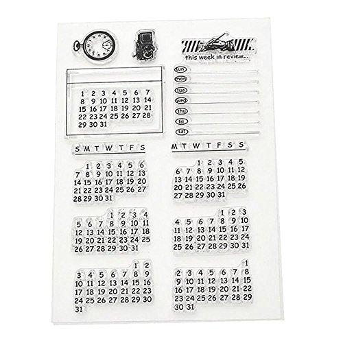 calendrier-semaine-mois-transparente-sceau-cachet-fiche-bricolage-joint-tampon-artisanat-scrapbook