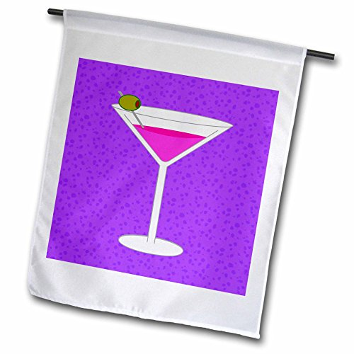 3dRose FL_57113_1 Bright Pink Martini in Glass with Olive Purple Background Garden Flag, 12 by 18-Inch