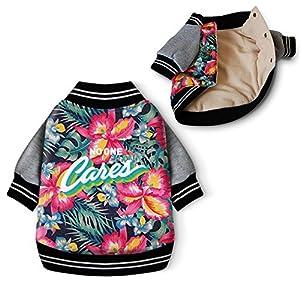 Idepet Hawaii Style hiver pour animal domestique Parka Cothes Coton rembourré chaud Chien Vêtements Mode Imprimé fleurs Automne Sweat-shirt
