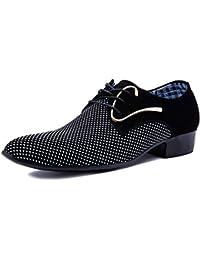 Poplover Herren Moderne Schn¨¹ren Spitz Zehe Oxford Matte Schuhe