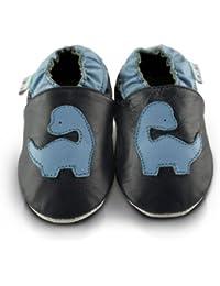 Snuggle Feet - Chaussons Bébé en Cuir Doux - Dinosaure Bleu
